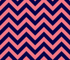 navy & coral chevron fabric by xoelle on Spoonflower - custom fabric
