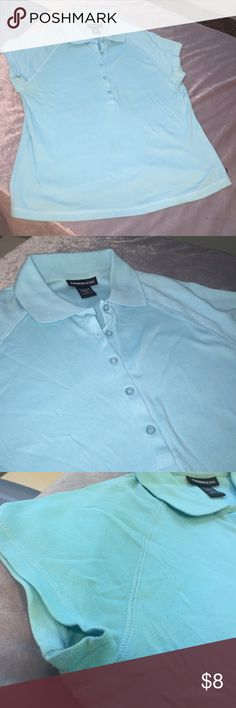 Express (L) light blue Green button up polo Gently Worn! Clean smoke free home! 100% cotton light weight button up polo short sleeve shirt. Express Tops