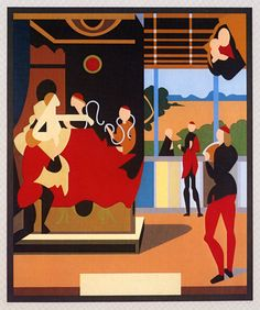 Tom Phillips : After Raphael. A detail was used on the sleeve of Eno's Another Green World.  Great to see the whole piece as the detail was fascinating enough!