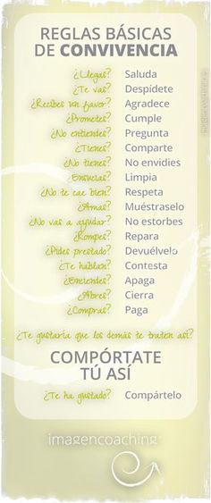 REGLAS BÁSICAS DE CONVIVENCIA Teaching Strategies, Teaching Resources, Manners, Kids And Parenting, Activities For Kids, Psychology, Knowledge, Life Lessons, Inspirational Quotes