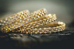Gold and Diamond bangles. Diamond stones enriched gold line bangles Diamond Bracelets, Diamond Jewelry, Bangle Bracelets, Diamond Rings, Gold Bangles Design, Gold Jewellery Design, Designer Bangles, Silver Bangles, Silver Earrings