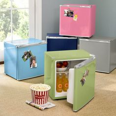 colorful mini fridge