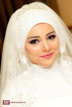 Wedding bridal hijab #MuslimWedding, www.PerfectMuslimWedding.com