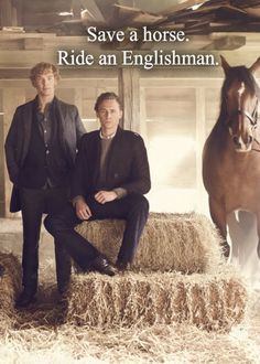 Amen...these 'save a horse' pics just never get old. ;) #Bendict Cumberbatch #Tom Hiddleston