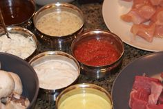 The Melting Pot Dipping sauces.