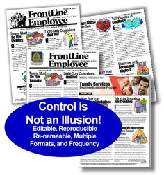 Employee Newsletter (Re-name, Ready to Use, and Editable!) FrontLine Employee (America's Original Editable Newsletter) #Newsletter #EmployeeNewsletter