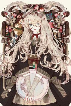 white hair glasses