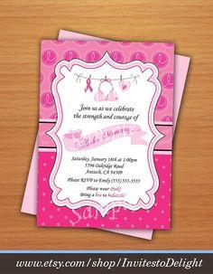 Breast Cancer Awareness Invitation Pink Printable Digital DIY
