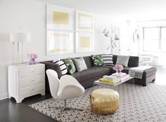 """Fresh perspective: From """"Decorating with Carpets: A FINE FOUNDATION"""" a chic young duo - @KapitoMullerInterior, designing with the interlocking Ys of the Yogi #pattern from STARK's David Hicks Collection for a #mod #livingroom. To reserve your edition, click the link in our bio. #StarkTouch #InteriorDesign @davidhicksdesign"""