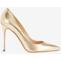 Sergio Rossi Godiva Shiny Metallic Leather Pump: Gold ($625) ❤ liked on Polyvore featuring shoes, pumps, heels, gold, sergio rossi pumps, pointed toe high heel pumps, pointy-toe pumps, metallic pointed toe pumps and leather sole shoes