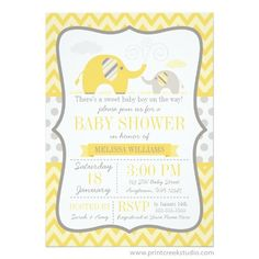 Chevron Elephant Yellow Baby Shower Invitation Grey chevron