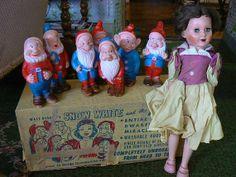 Vintage Snow White & 7 Dwarfs Dolls in Original Box~Walt Disney~Made of Miracle Vinyl on Etsy, $500.00