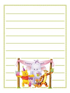 Journal Card - Birthday - Pooh - lines - photo Winnie The Pooh Birthday, Winnie The Pooh Friends, Mickey And Friends, Vacation Scrapbook, Disney Scrapbook, 1st Birthday Pictures, Disney Printables, Project Life Cards, Journal Cards