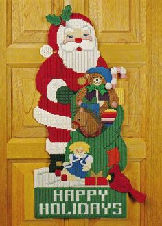 SANTA DOOR HANGER CHRISTMAS PLASTIC CANVAS PATTERN INSTRUCTIONS ONLY FROM A BOOK #PATTERNFROMABOOK
