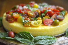 Polenta Tart with Heirloom Tomatoes. Polenta Tart with Heirloom Tomatoes. Veggie Recipes, Appetizer Recipes, Vegetarian Recipes, Dessert Recipes, Polenta Recipes, Yummy Appetizers, Heirloom Tomato Recipes, Heirloom Tomatoes, Baked Polenta