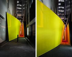 """""""The Meeting Place - part architectural sculpture, part social experiment -  was a playful installation encouraging participation and interaction whilst heightening the experience of moving through the urban surrounds of Little Hunter Street Sydney."""""""