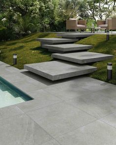 Wall/floor tiles with concrete effect By Supergres Modern Backyard, Modern Landscaping, Backyard Landscaping, Garden Stairs, Garden Floor, Modern Landscape Design, Modern Garden Design, Landscape Stairs, Outdoor Steps