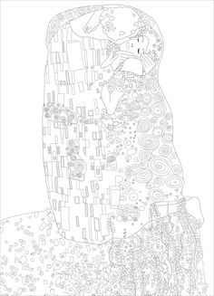 Coloring page created from the painting 'The Kiss' by Gustav KlimtFrom the gallery : ArtArtist : JiM