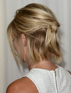 Awesome shorter hair up-do. Love!!  Would be great for a wedding or any formal event for those of us with shorter hair.