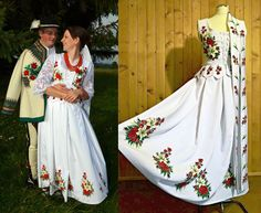 Poland: handpainted weddng dress from the region of Podhale Polish Wedding, Highlanders, Mother And Father, Folklore, New Trends, Cool Style, Cover Up, Poland, Hand Painted