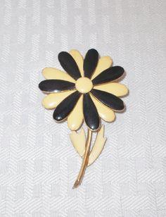 1960's Vintage Enamel Black and Cream Flower Brooch Pin