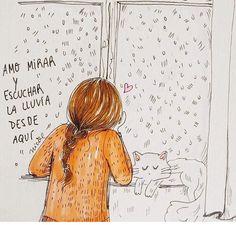 Gato y lluvia