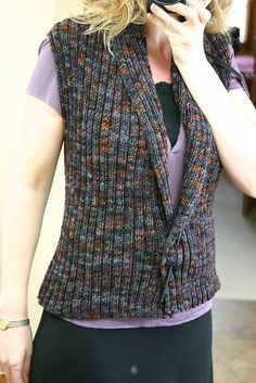 Seamingly Simple Vest looks like a super easy knit vest pattern. good for an interesting yarn, like handspun or noro. Always aspired to learn . Knitting Designs, Knitting Patterns Free, Knit Patterns, Arm Knitting, Knitting Stitches, Knit Vest Pattern, Knit Or Crochet, Crochet Clothes, Cardigans For Women