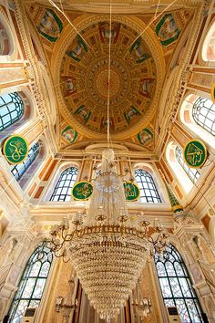 Interior of Mecidiye mosque, Ortakoy district, Istanbul