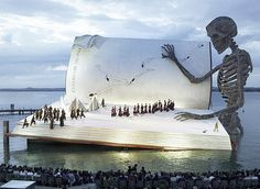 Floating Stage of the Bregenz Festival In Austria 2011. Some of the entertainment at the fest is performed on a floating stage in Lake Constance. Audiences of up to 7,000 can watch operas there.