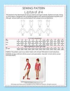 Bestseller -Leotard Patterns - LEOTARD #4 - Girls, Short & Long Sleeve (L504)