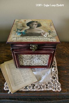 Shabby Jewelry box with bottom drawer, trinkets, accessories, home decor