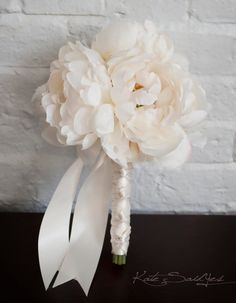 Petite Ivory Peony Wedding Bouquet Ready to Ship by KateSaidYes