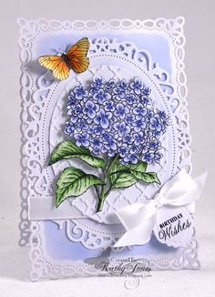 JustRite February CHA Release - Hydrangea Vintage Labels Seven Clear Stamps Butterfly Cards, Flower Cards, Paper Flowers, Birthday Wishes, Birthday Cards, Envelopes, Spellbinders Cards, Heartfelt Creations, Pretty Cards