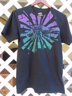 VANS OFF THE WALL SLIM FIT T Shirt Men's Size M Screen Print Black Multi Colors…