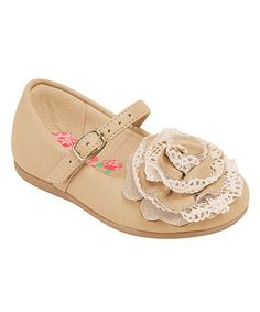 Take a look at this Beige Large Flower Mary Jane by Pampili on #zulily today!