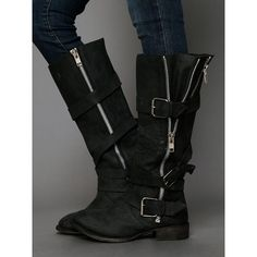 Free People Dolce Vita Marlo Zip Buckle Boot (€180) ❤ liked on Polyvore featuring shoes, boots, carbon, knee-high boots, biker boots, tall boots, tall motorcycle boots, free people boots and zip boots