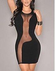 nero accenti audaci maglia delle donne senza maniche mini vestito da partito