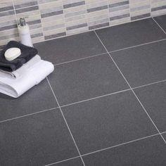 Dark 'slate effect' ceramic bathroom floor tiles
