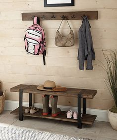 Another great find on #zulily! Modesto Reclaimed Wood Coat Hook & Bench by Alaterre Furniture #zulilyfinds