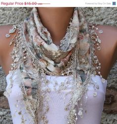 Multicolor Scarf   Cotton  Scarf   Cowl with Lace Edge by fatwoman, $13.50