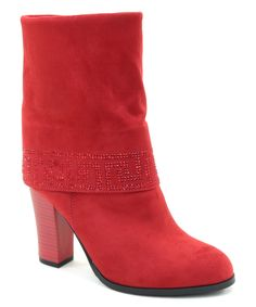 Red Greek Key-Accent Boot