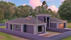 4 Bedroom House Plan - My Building Plans South Africa Round House Plans, Tuscan House Plans, Free House Plans, My Building, Building Plans, 5 Bedroom House Plans, Affordable House Plans, House Construction Plan, Home Design Floor Plans