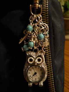 Small Silver Owl Purse Charm / Zipper Pull by 2LittleMoonBeams