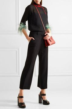 Prada - Feather-trimmed Silk-chiffon Blouse - Black - IT46