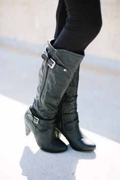 """These 3 inch heeled boots, are a must for your closet! They are so comfortable, you can wear them all day!Colors: BlackTanBrownSizes: 5.5-10These have been running true to sizeCalf circumference is approximately 15"""" around. Also stretches with the elastic on the side and adjustable buckles! Material: Faux leather **Please note, color may look slightly different in person, and on mobile devices**"""
