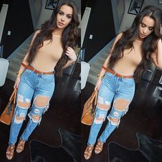 Spring Outfit - Nude top and ripped jeans! - Weird how the nude top matches her skin on her legs soo perfectly! :)