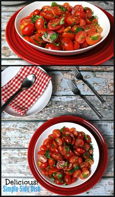 Simple Tomato Salad. It doesn't take much to turn fresh, ripe tomatoes into an amazing side to any meal. Via Whole Food | Real Families