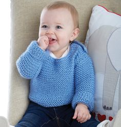 FREE Simply Cute Pullover knitting pattern in Caron Simply Baby. Download at LoveKnitting
