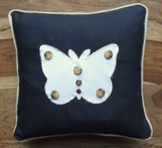Butterfly appliqued cushion cover with by TheCraftyFoxBoutique, £14.00