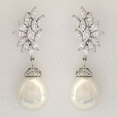 View our exquisite collection of Joia De Majorca pearl wedding earrings & pearl & CZ bridal earrings. Unique pearl & CZ earrings for bridal & evening wear.  Find your glamour at Perfect Details.